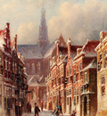 Vertin Petrus Gerardus A Snowy Street with The St Bavo Beyond Haarlem