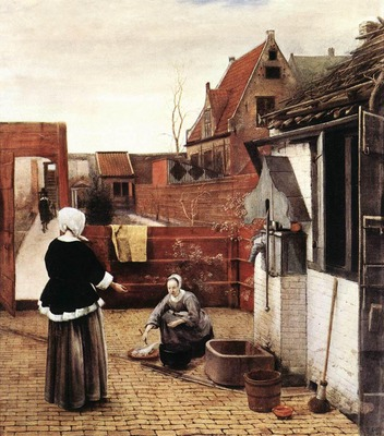 HOOCH Pieter de Woman and Maid in a Courtyard