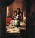HOOCH Pieter de Couple with Parrot