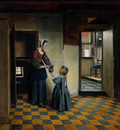 Hooch Pieter de Woman with a Child in a Pantry