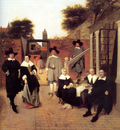 Portrait of a Family in a Courtyard in Delft