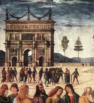 Perugino Pietro Christ Handing the Keys to St  Peter 1481 2 detail2