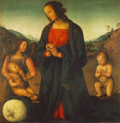 perugino pietro madonna an angel and little st john adoring the child madonna del sacco 1495