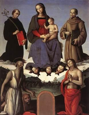 perugino pietro madonna and child with four saints tezi altarpiece