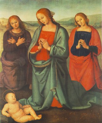 perugino pietro madonna with saints adoring the child