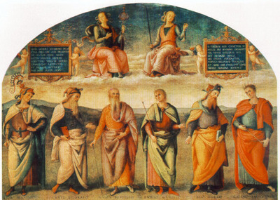 perugino pietro prudence and justice with six antique wisemen
