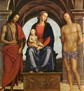 perugino pietro the madonna between st  john the baptist and st  sebastian