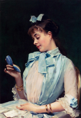 Madrazo Y Garretta Raimundo De Portrait Of Aline Mason In Blue