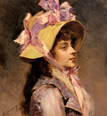 Garreta Raimundo De Madrazo portrait Of A Lady In Pink Ribbons