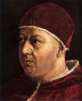 Raphael Pope Leo X with Cardinals Giulio de Medici and Luigi de Rossi detail1