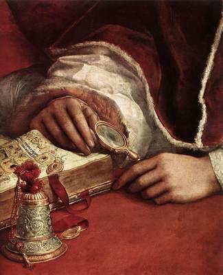 Raphael Pope Leo X with Cardinals Giulio de Medici and Luigi de Rossi detail2