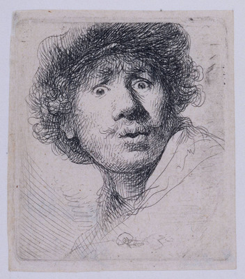 Rembrandt Self Portrait with a Cap openmouthed
