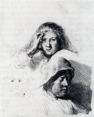 Rembrandt Sheet Of Sketches With A Portrait Of Saskia