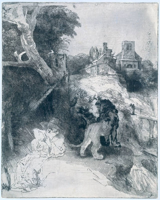 Rembrandt St Jerome Reading in an Italian Landscape