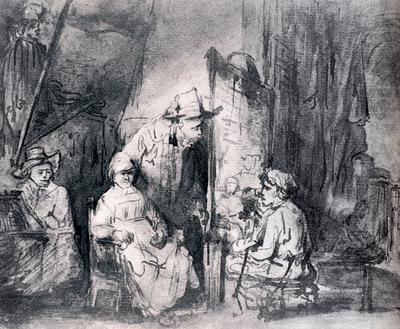 Rembrandt Studio Scene With Sitters
