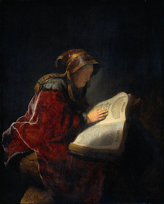 Rembrandt The Prophetess Anna known as Rembrandt s Mother