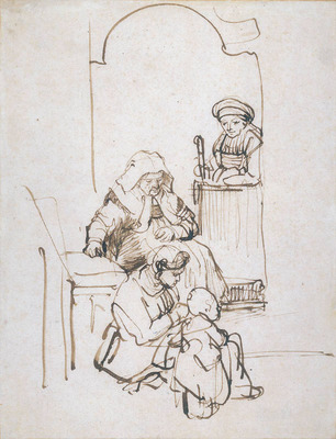 Rembrandt Three Women and a Child at the Door