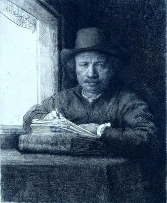 Rembrandt drawing at a window RJM