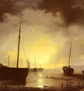 Haanen Remigius%20Adrianus van Beached fishing Boats by Moonilight