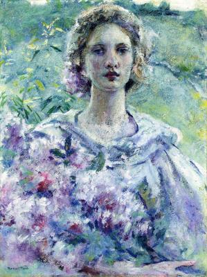 Reid Robert Lewis Girl with Flowers