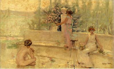 Reid Robert Lewis Three Figures in an Italian Garden