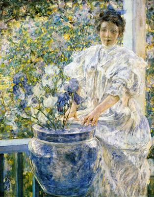 Reid Robert Lewis Woman on a Porch with Flowers