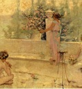 Reid Robert Lewis Three Figures in an Italian Garden