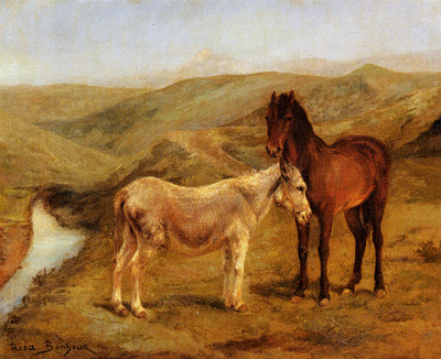 Bonheur Rosa A Horse And Donkeys In A Hilly Landscape