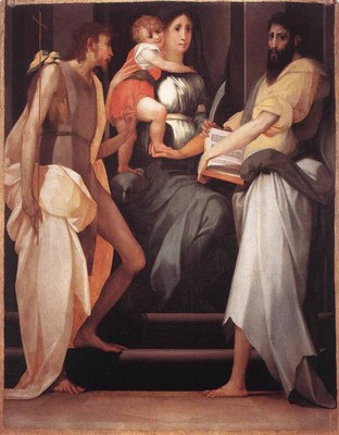 ROSSO FIORENTINO Madonna Enthroned Between Two Saints