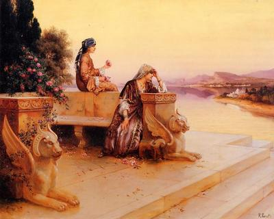 Ernst Rudolph Elegant Arab Ladies on a Terrace at Sunset