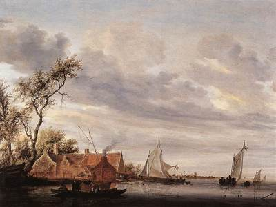River Scene with Farmstead WGA