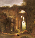 Colman Samuel Tintern Abbey With Elegant Figures