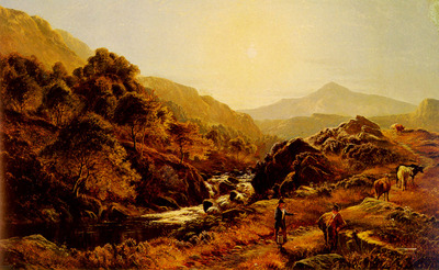 Percy Sidney Richard Figures On A Path By A Rocky Stream