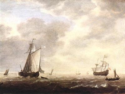 VLIEGER Simon de A Dutch Man Of War And Various Vessels In A Breeze