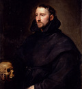 Dyck Anthony Van Portrait Of A Monk Of The Benedictine Order Holding A Skull