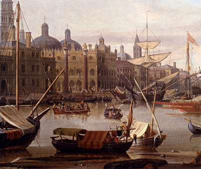 Storck Abraham Jansz A Capriccio Of The Grand Canal Venice detail