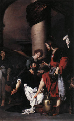 STROZZI Bernardo St Augustine Washing The Feet Of Christ