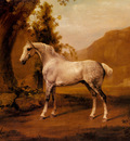 Stubbs George A Grey Stallion In A Landscape