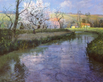 Thaulow Frits A French River Landscape
