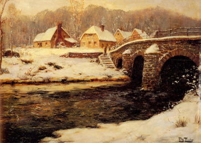 Thaulow Frits A Stone Bridge Over A Stream In Water