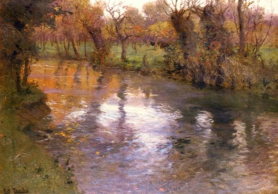 Thaulow Frits An Orchard On The Banks Of A River
