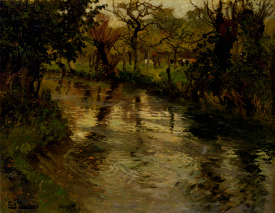 Thaulow Fritz Woodland Scene With A River