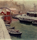 Thaulow Frits A Snowy Harbo