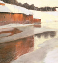 Thaulow Fritz A factory Building Near An Icy River In Winter