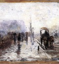 Steele Theodore Clement Street Scene with Carriage