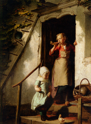 Theodore Gerard Feeding the Chicks