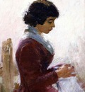 Robinson Theodore Girl in Red Sewing