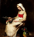 Ribot Theodule A Girl Arranging A Vase Of Flowers