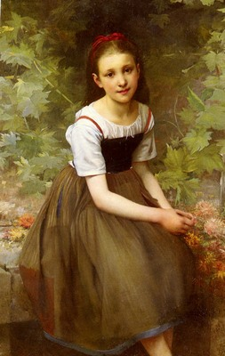 Thirion Charles Victor Une Jeune Fille Aux Fleurs