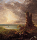 Cole Thomas Romantic Landscape with Ruined Tower